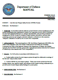 "DoD Manual ""Joint Services Safety Review Process"" - 30 Jul 14"